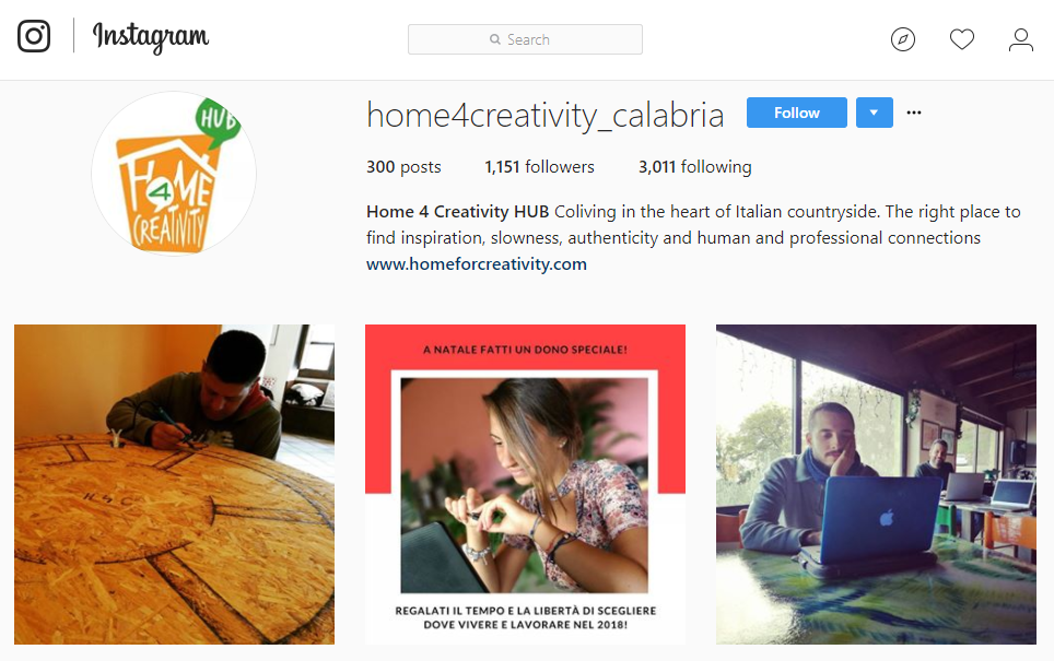 Instagram in Calabria: Home4Creativity